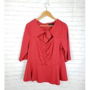 Eloquii Red Tie-Front Peplum Blouse